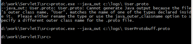 [解决]--java_out: User.proto: User.proto: Cannot generate Java output because the file 's outer class