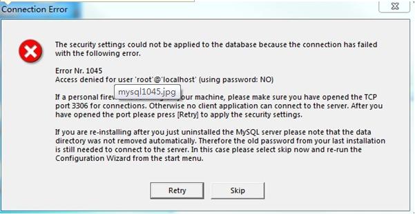 解决 error Nr.1045 卡在Mysql Server Instance Configuration Wizar