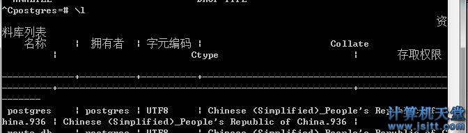 postgresql 查看服务器所有 db名 table 查看表结构命令1