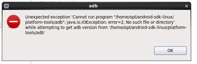 "Unexpected exception cannot run program ""android-sdk-li"